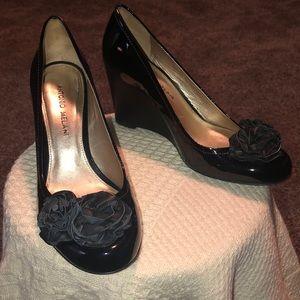 Antonio Melani Wedge Heels Black Patent Leather